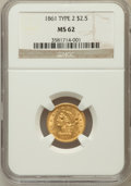Liberty Quarter Eagles: , 1861 $2 1/2 New Reverse, Type Two MS62 NGC. NGC Census: (393/296).PCGS Population (204/285). Mintage: 1,283,878. Numismedi...