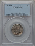Buffalo Nickels: , 1924-D 5C MS63 PCGS. PCGS Population (112/416). NGC Census:(64/283). Mintage: 5,258,000. Numismedia Wsl. Price for problem...