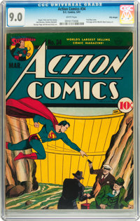 Action Comics #34 Billy Wright pedigree (DC, 1941) CGC VF/NM 9.0 White pages