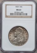 Bust Half Dollars, 1834 50C Large Date, Small Letters MS63 NGC. O-105, R.1....