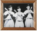 "Autographs:Photos, Joe DiMaggio Signed Photograph. Excellent 8x10"" black and whiteprint portrays a trio of the most heralded baseball player..."