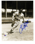 "Autographs:Photos, Enos Slaughter Signed Photograph. Beautiful 8x10"" print captures""Country"" Enos Slaughter as he rounds the bags in his full..."