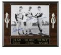 "Autographs:Photos, Mantle, Musial and Williams Signed Photograph. Classic black andwhite 8x10"" image has as its focus three HOF contemporarie..."