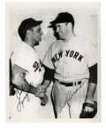 Autographs:Photos, Cookie Lavagetto/Bill Bevens Dual-Signed Wire Photograph. New Yorkrivals Bill Bevens, pitcher for the Yankees, and Cookie ...