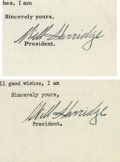 Autographs:Letters, 1952-53 William Harridge Signed Typed Letters Lot of 2. WilliamHarridge, former American League president, was involved in...