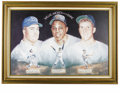 Baseball Collectibles:Others, Willie, Mickey, and The Duke Signed Portrait. This trio, consideredthe cream of the crop as far as New York outfielders go...
