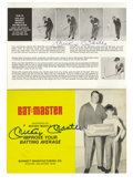 """Autographs:Others, Mickey Mantle Signed """"BatMaster"""" Instructions Lot of 2. TheBatMaster was a product used to improve the hitting skills of y...(Total: 2 Items)"""