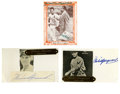 Autographs:Index Cards, Baseball Hall of Famers Signed Items Lot of 3. Each of the threeitems we see here has been adorned by a HOF signature. Ru...