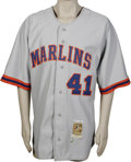 Baseball Collectibles:Uniforms, 2002 Braden Looper Game-Worn Throwback Jersey. Road grey Florida Marlins throwback jersey was worn during the 2002 season b...