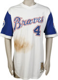 Baseball Collectibles:Uniforms, 2002 Eric Owens Game-Worn Throwback Jersey. A tremendous amount ofgame use is evident on this throwback Atlanta Braves gam...