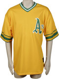 Baseball Collectibles:Uniforms, 2002 Olmedo Saenz Game-Worn Throwback Jersey. The Panamanian-born Oakland infielder Olmedo Saenz sported this yellow Athlet...