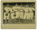 Baseball Collectibles:Photos, 1955 Hall of Famers Photograph. This photo, originally taken at Yankee Stadium in 1955, features an impressive collection ...