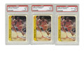 Basketball Cards:Lots, 1986-87 Fleer Sticker Michael Jordan #8 PSA-Graded Lot of 3. Herewe present three examples of Michael Jordan's rookie entr...(Total: 3 items)