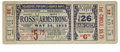 Boxing Collectibles:Memorabilia, 1938 Armstrong vs. Ross Full Ticket. On May 31, 1938, Henry Armstrong won a fifteen round decision over Barney Ross to capt...