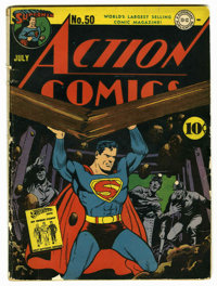 Action Comics #50 (DC, 1942) Condition: VG. Fred Ray cover. Art by Ray, Mort Meskin, and Bernard Baily. Overstreet 2006...