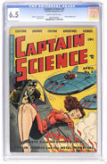Golden Age (1938-1955):Science Fiction, Captain Science #3 (Youthful Magazines, 1951) CGC FN+ 6.5 Slightlybrittle pages. Bondage cover featuring an evil-looking al...