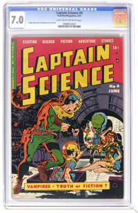 Captain Science #4 (Youthful Magazines, 1951) CGC FN/VF 7.0 Light tan to off-white pages. Wally Wood and Joe Orlando han...