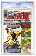 Silver Age (1956-1969):Superhero, Daredevil #1 (Marvel, 1964) CGC FN/VF 7.0 Off-white to white pages. Here's an impressively white copy of this key Marvel! It...