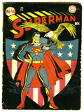 Golden Age (1938-1955):Superhero, Superman #14 (DC, 1942) Condition: GD. Classic patriotic shield cover by Fred Ray. Leo Nowak art. Cover and centerfold detac...