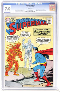 Superman #145 (DC, 1961) CGC FN/VF 7.0 White pages. Mr. Mxyztplk and Brainiac appear. Curt Swan and Stan Kaye cover art...