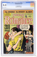 Golden Age (1938-1955):Romance, Young Romance Comics #74 (Prize, 1954) CGC VF 8.0 Cream tooff-white pages. Highest grade yet assigned by CGC for thisissue...