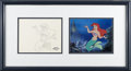 "Animation Art:Production Cel, Walt Disney Studios - ""The Little Mermaid"" Production Cel andBackground Original Art (Disney, 1995). This stunning hand-pai..."