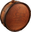Arms Accessories:Flasks, Classic Cedar Wood Confederate Canteen with carved initials on theface;...