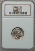 Buffalo Nickels: , 1918 5C MS64 NGC. NGC Census: (221/75). PCGS Population (372/236).Mintage: 32,086,314. Numismedia Wsl. Price for problem f...