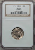 Buffalo Nickels: , 1913-D 5C Type Two MS64 NGC. NGC Census: (227/101). PCGS Population(326/199). Mintage: 4,156,000. Numismedia Wsl. Price fo...