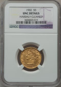 Liberty Half Eagles: , 1902 $5 -- Harshly Cleaned -- NGC Details. Unc. NGC Census:(27/1250). PCGS Population (23/741). Mintage: 172,400. Numismed...