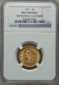 Liberty Half Eagles: , 1907 $5 -- Improperly Cleaned -- NGC Details. Unc. NGC Census:(147/7843). PCGS Population (188/4931). Mintage: 626,192. Nu...