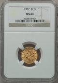 Liberty Quarter Eagles: , 1907 $2 1/2 MS64 NGC. NGC Census: (2073/1540). PCGS Population(2212/1510). Mintage: 336,200. Numismedia Wsl. Price for pro...