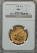 Indian Eagles: , 1914 $10 MS61 NGC. NGC Census: (535/1177). PCGS Population(245/1238). Mintage: 151,050. Numismedia Wsl. Price for problem ...