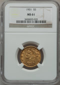 Liberty Half Eagles: , 1901 $5 MS61 NGC. NGC Census: (1188/3264). PCGS Population(409/2104). Mintage: 615,900. Numismedia Wsl. Price for problem ...