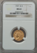 Indian Quarter Eagles: , 1929 $2 1/2 MS63 NGC. NGC Census: (5632/2979). PCGS Population(3703/1697). Mintage: 532,000. Numismedia Wsl. Price for pro...