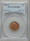 Lincoln Cents, 1912-S 1C MS64 Red PCGS....