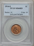Lincoln Cents, 1914-S 1C MS64 Red PCGS....