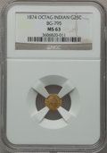 California Fractional Gold: , 1874 25C Indian Octagonal 25 Cents, BG-795, R.3, MS63 NGC. NGCCensus: (7/6). PCGS Population (48/87). ...