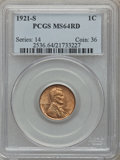 Lincoln Cents, 1921-S 1C MS64 Red PCGS....