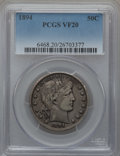 Barber Half Dollars: , 1894 50C VF20 PCGS. PCGS Population (5/210). NGC Census: (2/161).Mintage: 1,148,972. Numismedia Wsl. Price for problem fre...
