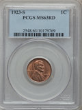 Lincoln Cents, 1923-S 1C MS63 Red PCGS....