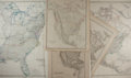 Books:Maps & Atlases, [Maps]. [North America]. Group of Five 19th Century Engraved Maps with Hand-Coloring. Various sizes. Two with binding fold. ...