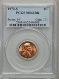 Lincoln Cents: , 1973-S 1C MS66 Red PCGS. PCGS Population (147/0). NGC Census:(66/1). Numismedia Wsl. Price for problem free NGC/PCGS coin...
