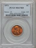Lincoln Cents: , 1971 1C MS67 Red PCGS. PCGS Population (30/0). NGC Census: (30/0).Numismedia Wsl. Price for problem free NGC/PCGS coin in...
