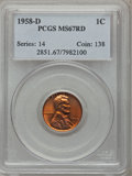 Lincoln Cents: , 1958-D 1C MS67 Red PCGS. PCGS Population (78/0). NGC Census:(218/0). Mintage: 800,953,280. Numismedia Wsl. Price for probl...