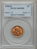Lincoln Cents: , 1935-D 1C MS67 Red PCGS. PCGS Population (73/1). NGC Census:(178/0). Mintage: 47,000,000. Numismedia Wsl. Price for proble...
