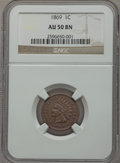Indian Cents: , 1869 1C AU50 NGC. NGC Census: (30/328). PCGS Population (60/293).Mintage: 6,420,000. Numismedia Wsl. Price for problem fre...