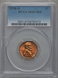 Lincoln Cents: , 1958-D 1C MS67 Red PCGS. PCGS Population (79/0). NGC Census:(219/0). Mintage: 800,953,280. Numismedia Wsl. Price for probl...