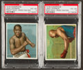 Boxing Cards:General, 1910 T218 Mecca Champions Jack Johnson, Side and Front VariationsPSA Graded Pair (2). ...