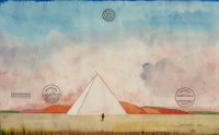 SAUL STEINBERG (Romanian, 1914-1999) Pyramid No. 4, 1968 Watercolor and rubber stamps on paper 14